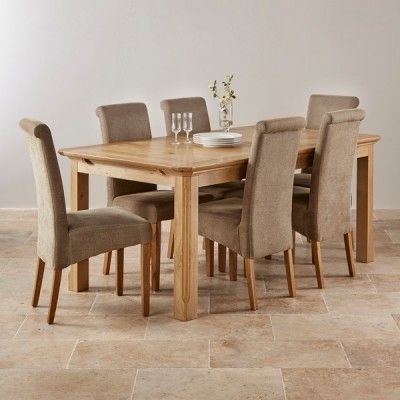 Edinburgh Natural Solid Oak Dining Set – 6Ft Extending Table With 6 Throughout Fashionable Oak Dining Tables And Fabric Chairs (View 6 of 20)