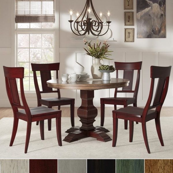 Eleanor Red Round Solid Wood Top 5 Piece Dining Set – Panel Back Within Favorite Caden 5 Piece Round Dining Sets (Gallery 9 of 20)