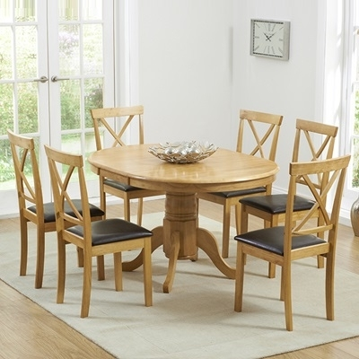 Elson Round Oak 6 Seater Extending Dining Set With 2017 Round Oak Extendable Dining Tables And Chairs (Gallery 6 of 20)