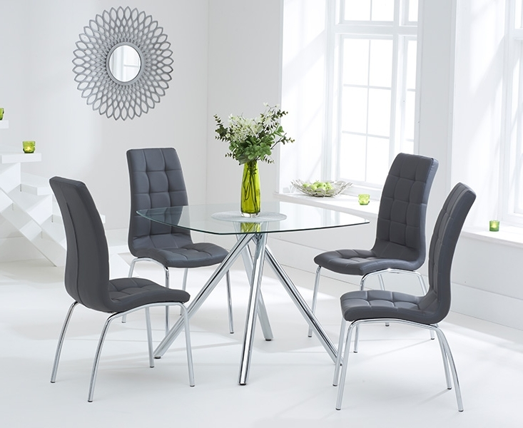 Elva 100Cm Glass Dining Table With Calgary Chairs For Well Known Round Black Glass Dining Tables And Chairs (Gallery 7 of 20)
