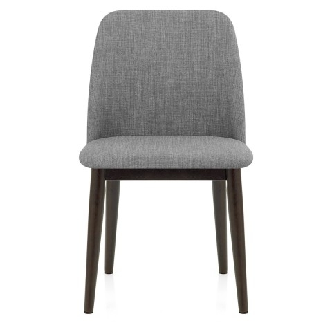 Elwood Walnut Dining Chair Grey Fabric – Atlantic Shopping Regarding Well Liked Grey Dining Chairs (View 4 of 20)