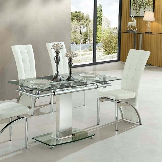Enke Extending Dining Table In Clear Glass And Chrome Frame Within Most Current Extending Glass Dining Tables (Gallery 1 of 20)
