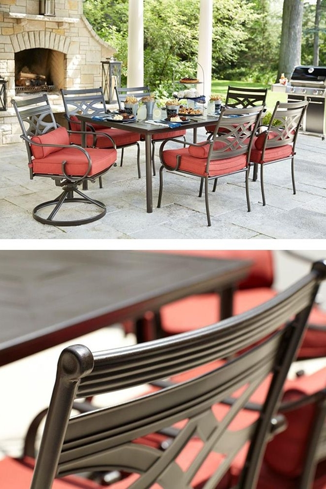 Entertain In Style This Summer With Hampton Bay's Middletown Patio With Famous Helms 7 Piece Rectangle Dining Sets With Side Chairs (Gallery 12 of 20)