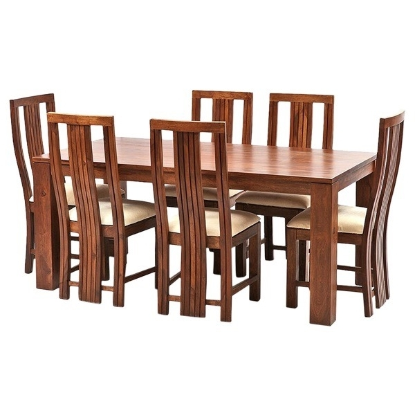 Ethnic India Art Madrid 6 Seater Sheesham Wood Dining Set With Table Regarding Recent Sheesham Dining Tables And 4 Chairs (View 14 of 20)