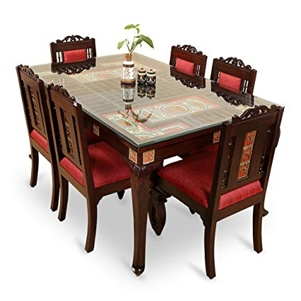 Exclusivelane Teak Wood Table And Chair With Warli And Dhokra Work 6 Pertaining To 2018 6 Seat Dining Tables And Chairs (View 16 of 20)