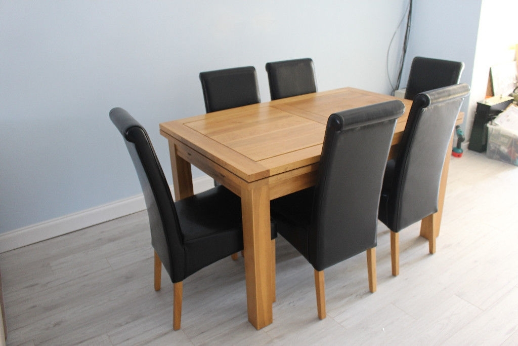 Extendable Dining Table And 6 Chairs Intended For Newest Oak Extendable Dining Table With 6 Chairs Immaculate Condition (Gallery 9 of 20)