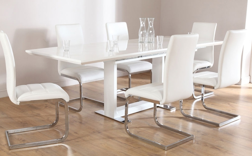 Extendable Dining Tables 6 Chairs With Most Recent White Dining Table And Chairs (View 8 of 20)