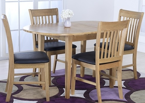 Extendable Dining Tables And 4 Chairs Intended For Well Known Vida Living Cleo Oak Oval Extending Dining Table And 4 Chairs Set (View 5 of 20)