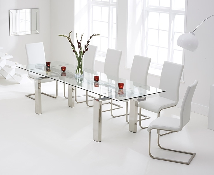 Extendable Glass Dining Tables And 6 Chairs In Latest Bury Glass 200Cm Extending Dining Set With 6 Boston Ivory White Chairs (Gallery 1 of 20)