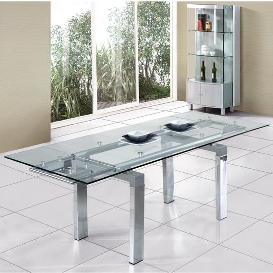 Extendable Glass Dining Tables With Most Popular Clear Extendable Glass Dining Table @ Homehighlight.co.uk (Gallery 2 of 20)