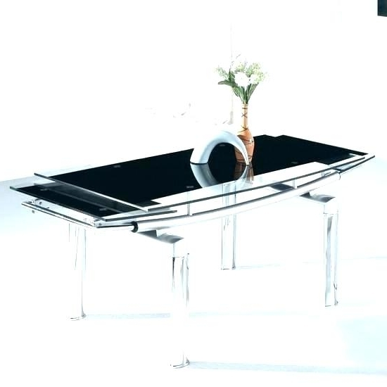 Extendable Glass Dining Tables Within 2017 Glass Dining Table Extending Grey Frosted Glass Dining Table (View 7 of 20)