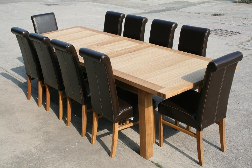 Extendable Oak Dining Tables And Chairs For Preferred Leather Chair Dining Table Sets (View 6 of 20)