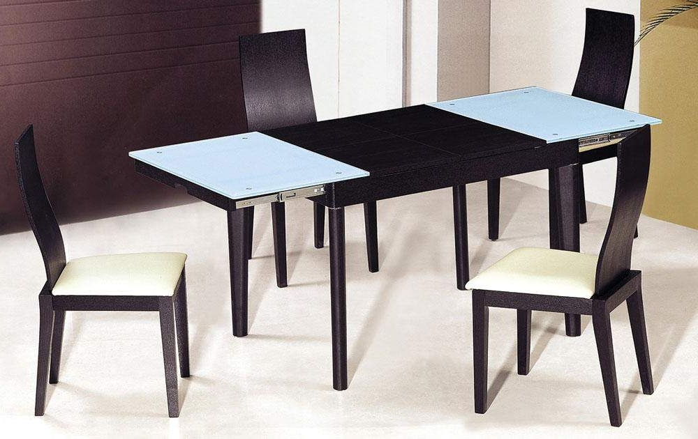 Extendable Wooden With Glass Top Modern Dining Table Sets Columbus Throughout Widely Used Extendable Dining Tables Sets (View 11 of 20)