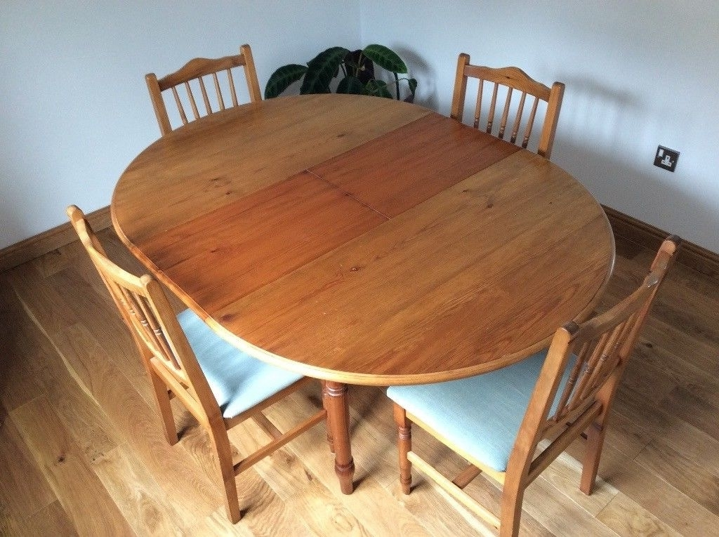 Extended Round Dining Tables Throughout Trendy Dining Table And Chairs.pine Wood. Extending Round Table 114Cms (Gallery 20 of 20)