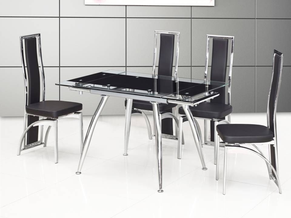 Extending Black Dining Tables With Regard To Fashionable Small Black Extending Glass Dining Table And 4 Chairs Homegenies (Gallery 18 of 20)