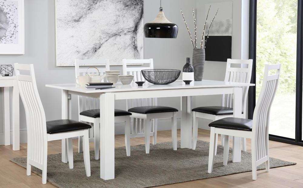 Extending Dining Room Tables And Chairs In 2017 Aspen White Extending Dining Table And 6 Chairs Set (Java) Only (View 8 of 20)