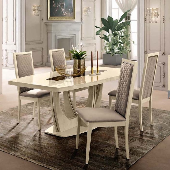 Extending Dining Table Sets With Regard To Most Up To Date Abrianna 5 Piece Sand Birch 1.4  (View 7 of 20)