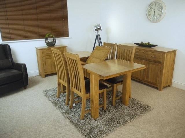 Extending Dining Tables And 4 Chairs Intended For Famous Oakland Oak 1200 Extending Dining Table & 4 Chairs – Table And (View 3 of 20)