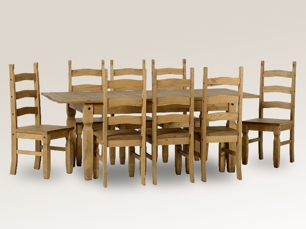 Extending Dining Tables And 8 Chairs Inside Most Popular Seconique Corona 160Cm Pine Extending Dining Table And 8 Chairs Set (Gallery 19 of 20)