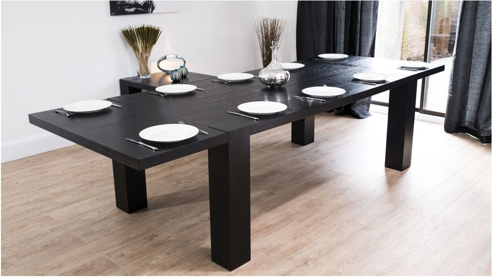Extending Dining Tables With 14 Seats Regarding Popular Spectacular Modern Large Extending Black Ash Dining Table Chunky (View 9 of 20)