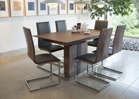 Extending Dining Tables With 6 Chairs In Famous Almara Walnut Extending Dining Table + 6 Chairs (Gallery 2 of 20)