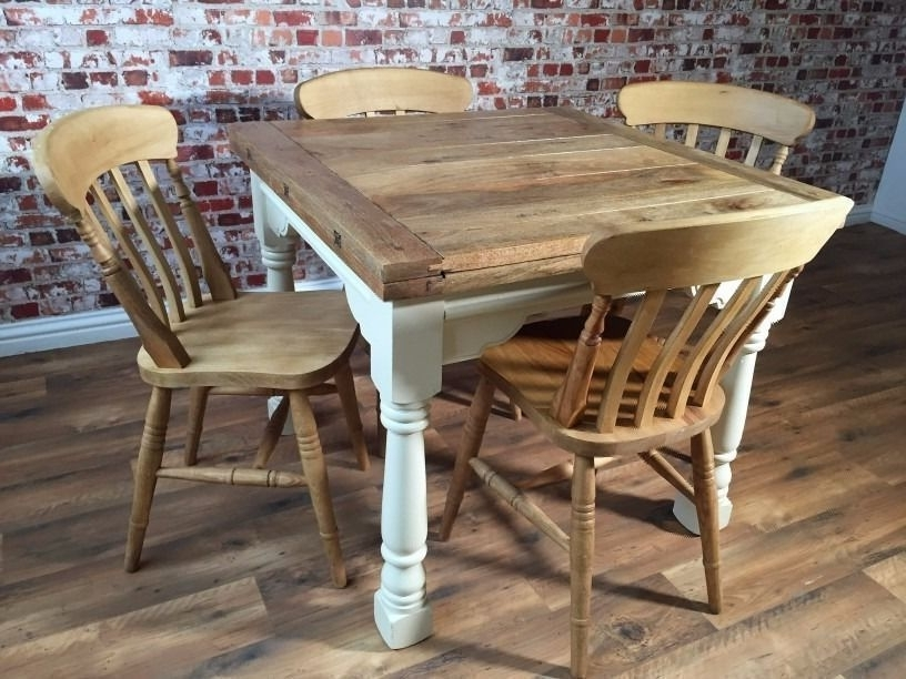 Extending Farmhouse Rustic Dining Table Set – Drop Leaf – Ergonomic Inside Preferred Drop Leaf Extendable Dining Tables (View 7 of 20)