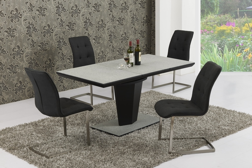 Extending Glass Dining Tables And 8 Chairs For Fashionable Large Extendable Grey Stone Effect Glass Dining Table & 8 Chairs (Gallery 16 of 20)