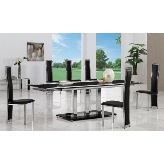 Extending Glass Dining Tables And 8 Chairs Throughout Well Known Tripod Black Extending Glass Dining Table And 8 G650 Chairs (View 8 of 20)
