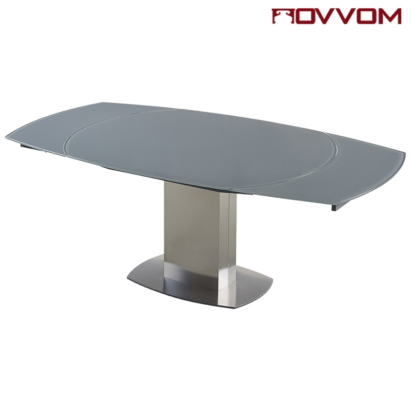 Extending Glass Dining Tables With Current Stainless Steel Frame Rectangular Grey Tempered Glass Top Flow (Gallery 19 of 20)