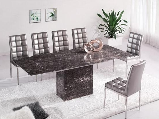 Extending Marble Dining Tables In Most Recently Released Brown & Grey Extending Dining Table 6 Chairs (Marble) – Kk Furniture (Gallery 8 of 20)
