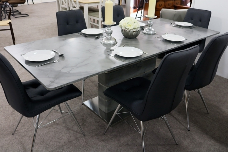 Extending Marble Dining Tables Pertaining To 2017 Buy Vancouver Grey Marble Dining Table – 160Cm 220Cm Rectangular (View 5 of 20)