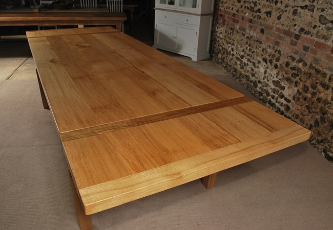 Extending Oak Dining Table – The Oak And Pine Barn, Hampshire In Well Known Extending Oak Dining Tables (View 4 of 20)
