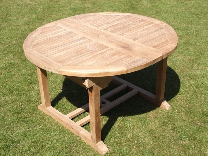 Extending Outdoor Dining Tables With Latest Oval Extending Teak Garden Dining Table (View 7 of 20)