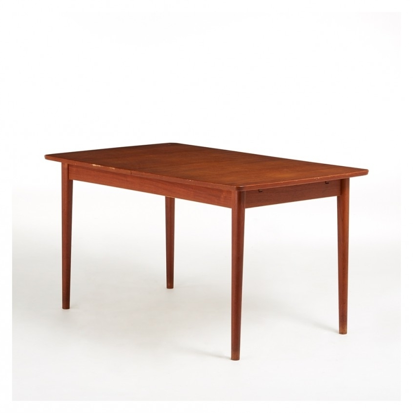 Extending Rectangular Dining Tables Pertaining To Most Current Vintage Rectangular Extending Dining Table Teak C (View 7 of 20)