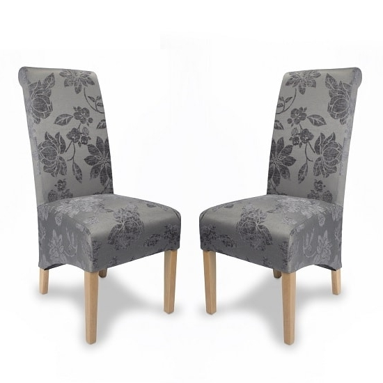 Fabric Dining Chairs Pertaining To Preferred Arora Floral Fabric Dining Chairs In Antique Grey In A Pair (View 2 of 20)