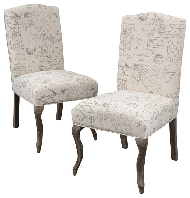 Fabric Dining Chairs Regarding Trendy Crown Back French Script Beige Fabric Dining Chairs, Set Of (View 10 of 20)