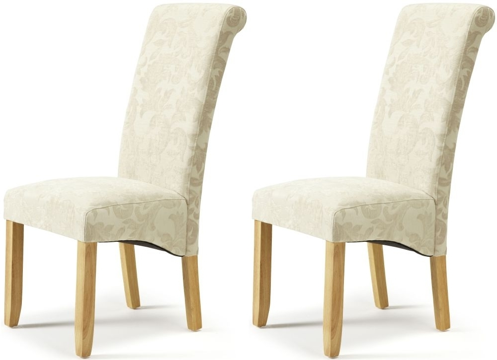 Fabric Dining Chairs Within Best And Newest Buy Serene Kingston Cream Floral Fabric Dining Chair With Oak Legs (View 14 of 20)