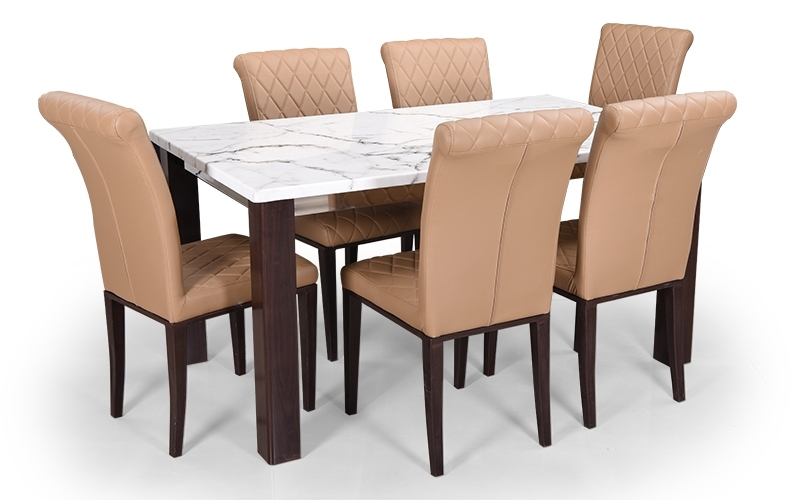 Famous 6 Seat Dining Table Sets Throughout Buy Royaloak Pearl 6 Seater Dining Set With Cushioned Chairs And (View 11 of 20)