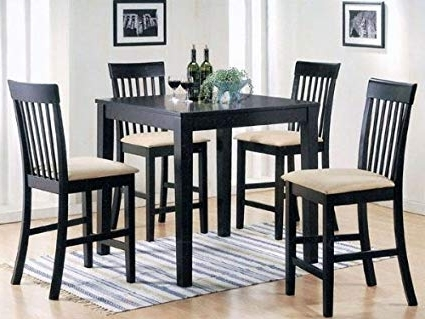 Famous Amazon – 5 Pc Espresso Finish Wood Counter Height Small Dining In Caira Black 5 Piece Round Dining Sets With Upholstered Side Chairs (View 11 of 20)