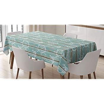 Famous Amazon: Ambesonne Nautical Tablecloth, Pastel Toned Sea Shell With Helms 7 Piece Rectangle Dining Sets (View 19 of 20)