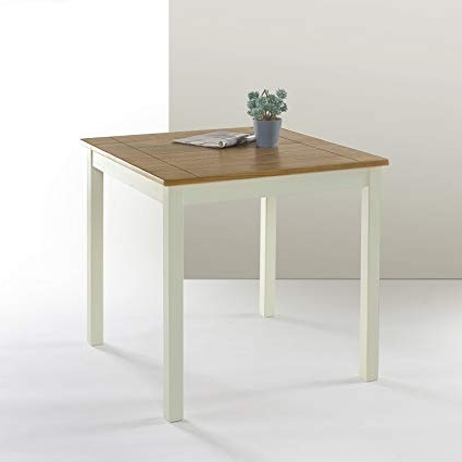Famous Amazon – Zinus Farmhouse Square Wood Dining Table – Tables Regarding Wood Dining Tables (View 9 of 20)