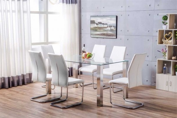 Famous Brushed Metal Dining Tables Intended For Salerno Clear Glass And Brushed Stainless Steel Metal Modern Stylish (View 9 of 20)