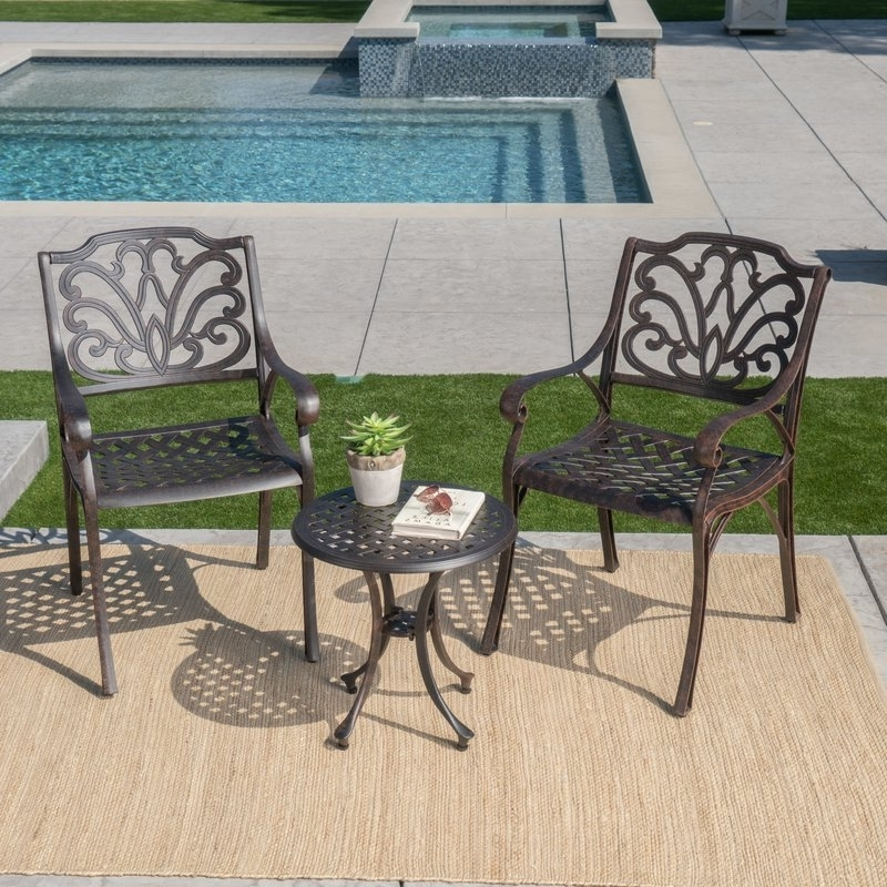 Famous Charlton Home Kastner 3 Piece Conversation Set & Reviews (View 17 of 20)