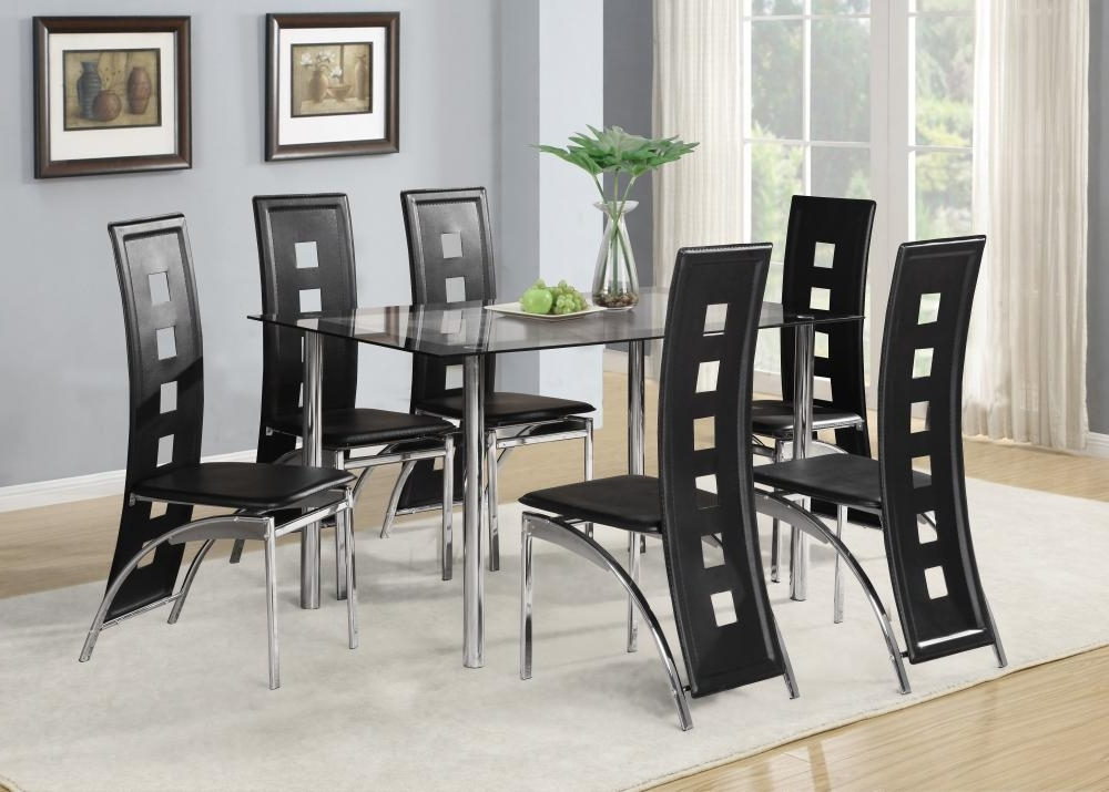 Famous Chrome Dining Room Sets For Black Glass Dining Room Table Set And With 4 Or 6 Faux Leather (View 9 of 20)
