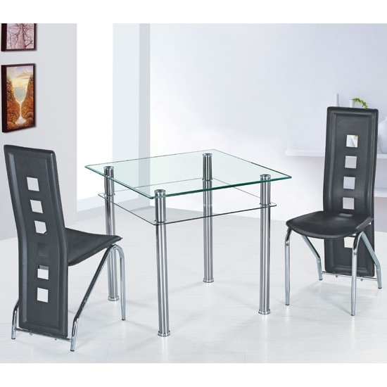 Famous Como Dining Tables Regarding Como Clear Glass Dining Table And 4 Black Siena Dining (View 10 of 20)