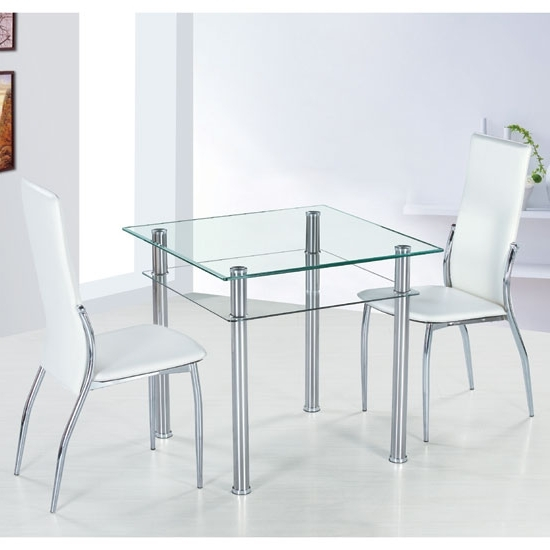 Famous Como Square Clear Glass Dining Table And 2 Ivory Pisa Inside Pisa Dining Tables (View 6 of 20)