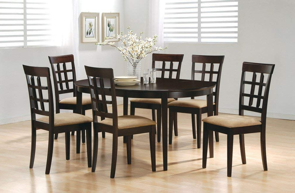 Famous Craftsman 7 Piece Rectangle Extension Dining Sets With Uph Side Chairs Pertaining To Amazon – 7 Piece Dining Set In Rich Cappuccino – Coaster – Table (View 11 of 20)