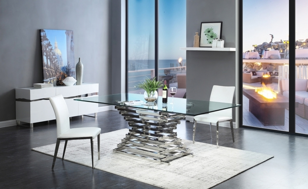 Famous Crawford Modern Rectangular Glass Dining Table Inside Modern In Crawford Rectangle Dining Tables (View 10 of 20)