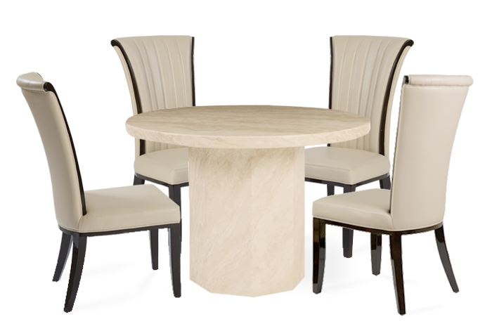 Famous Crema Round Marble Effect Dining Table With 4 Alpine Cream Chairs Within Marble Dining Chairs (View 4 of 20)