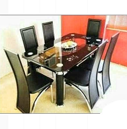Famous Curved Glass Dining Tables For Armada 6 Seater Curved Tempered Glass Dining Table With 6 Leather Chairs (View 8 of 20)